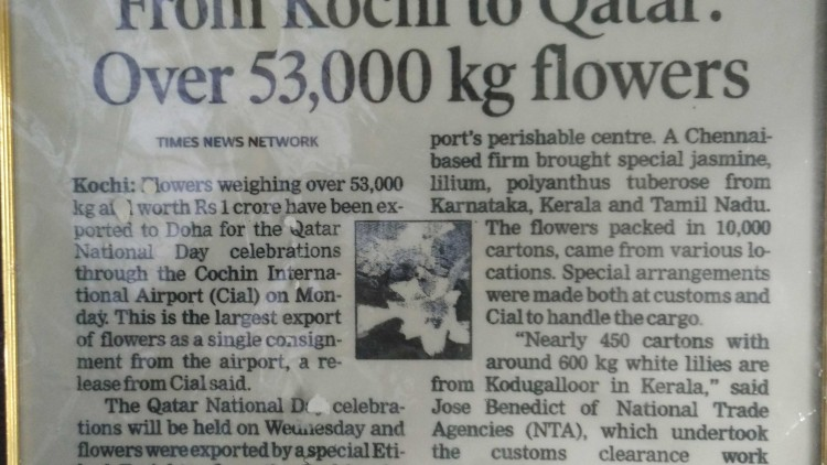 Kochi to Qatar and 50,000 Kg of flowers